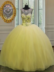 Exquisite Scoop Sleeveless Beading and Appliques Backless 15 Quinceanera Dress