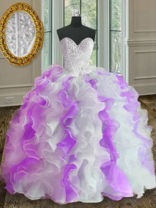 White And Purple Sweetheart Neckline Beading and Ruffles Sweet 16 Dress Sleeveless Lace Up