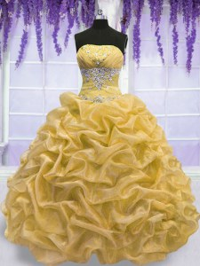 Comfortable Gold Sleeveless Beading Floor Length Quinceanera Gown
