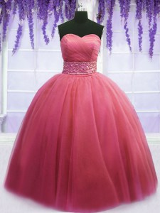 Pink Sleeveless Tulle Lace Up Quinceanera Gown for Military Ball and Sweet 16 and Quinceanera