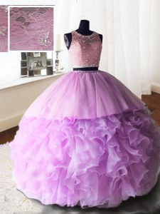 Best Scoop Lilac Zipper Quinceanera Dresses Beading and Lace and Ruffles Sleeveless With Brush Train