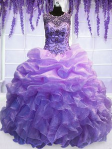 Top Selling Scoop Sleeveless Organza Floor Length Lace Up Quinceanera Gown in Lavender with Beading and Pick Ups