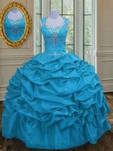 Modest Straps Sleeveless Taffeta Floor Length Lace Up Quinceanera Dresses in Aqua Blue with Beading and Pick Ups