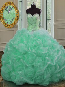 Fashion Pick Ups Ball Gowns Sleeveless Apple Green Vestidos de Quinceanera Sweep Train Lace Up