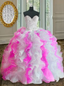 Comfortable Pink And White Ball Gowns Beading and Ruffles Ball Gown Prom Dress Lace Up Organza Sleeveless Floor Length