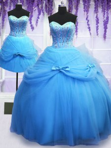 Three Piece Beading and Bowknot Ball Gown Prom Dress Baby Blue Lace Up Sleeveless Floor Length