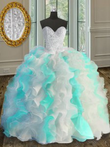 Elegant Organza Sweetheart Sleeveless Lace Up Beading and Ruffles Quinceanera Dresses in Multi-color