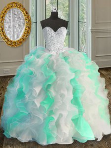 Great Beading and Ruffles Quinceanera Dress Multi-color Lace Up Sleeveless Floor Length