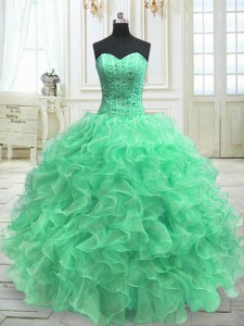 Charming Green Ball Gowns Organza Sweetheart Sleeveless Beading and Ruffles Floor Length Lace Up Sweet 16 Dress