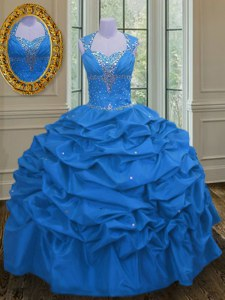 Custom Made Pick Ups Floor Length Blue Sweet 16 Dresses Straps Sleeveless Lace Up