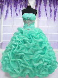 Sleeveless Floor Length Beading Lace Up Vestidos de Quinceanera with Turquoise