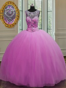 Lilac Ball Gowns Tulle Scoop Sleeveless Beading Floor Length Lace Up Quince Ball Gowns