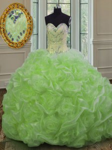 Sleeveless Organza Sweep Train Lace Up Quinceanera Dress in with Beading