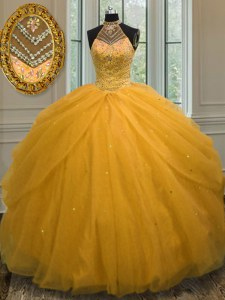 Smart Halter Top Gold Ball Gowns Beading Quinceanera Gowns Lace Up Tulle Sleeveless Floor Length