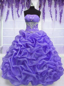 Flare Strapless Sleeveless Lace Up Sweet 16 Dress Lavender Organza