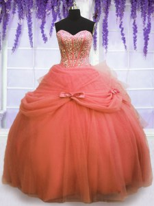 Sleeveless Floor Length Beading and Bowknot Lace Up Quinceanera Gowns with Watermelon Red