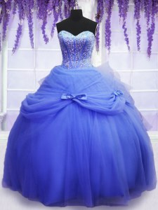 Blue Ball Gowns Sweetheart Sleeveless Tulle Floor Length Lace Up Beading and Bowknot Sweet 16 Quinceanera Dress