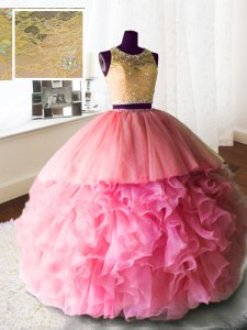 Cheap Scoop Rose Pink Zipper Ball Gown Prom Dress Beading and Lace and Ruffles Sleeveless With Brush Train