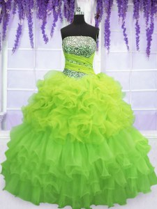 Sleeveless Beading and Ruffled Layers and Pick Ups Floor Length Ball Gown Prom Dress
