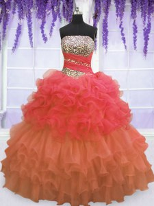 Unique Multi-color Strapless Neckline Beading and Ruffled Layers and Pick Ups Quinceanera Dress Sleeveless Lace Up