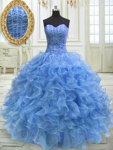 Clearance Baby Blue Ball Gowns Beading and Ruffles Quinceanera Gown Lace Up Organza Sleeveless Floor Length