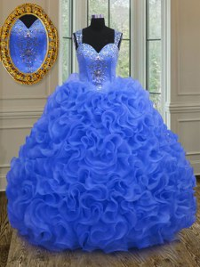 Stunning Straps Royal Blue Zipper Sweet 16 Quinceanera Dress Beading and Ruffles Sleeveless Floor Length