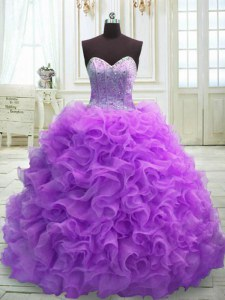 Ball Gowns Sleeveless Purple 15th Birthday Dress Sweep Train Lace Up