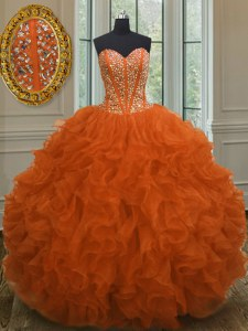 Orange Red Sweetheart Neckline Beading and Ruffles Quinceanera Dresses Sleeveless Lace Up