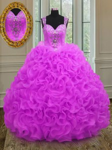 Straps Organza Sleeveless Floor Length Quinceanera Gowns and Beading and Ruffles