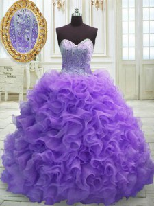 Customized Purple Lace Up Vestidos de Quinceanera Beading and Ruffles Sleeveless Sweep Train
