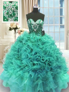Turquoise Sleeveless Floor Length Beading and Ruffles Lace Up Quinceanera Gowns
