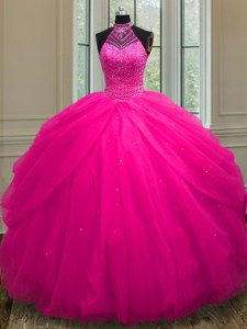 Dazzling Halter Top Hot Pink Tulle Lace Up Vestidos de Quinceanera Sleeveless Floor Length Beading and Sequins