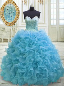 Trendy Sequins Sweetheart Sleeveless Sweep Train Lace Up Quinceanera Gown Baby Blue Organza