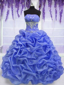 Sleeveless Organza Floor Length Lace Up Sweet 16 Dresses in Blue with Beading and Pick Ups