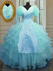Gorgeous Blue V-neck Zipper Embroidery and Ruffled Layers Quinceanera Gowns Long Sleeves