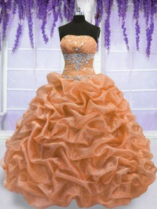 Sleeveless Organza Floor Length Lace Up Sweet 16 Dress in Orange with Beading