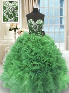 Green Organza Lace Up Sweet 16 Dresses Sleeveless Floor Length Beading and Ruffles