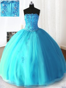 Affordable Sleeveless Tulle Floor Length Lace Up Quinceanera Dresses in Baby Blue with Beading and Appliques