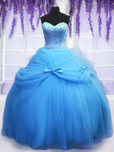 Elegant Blue Sleeveless Tulle Lace Up Ball Gown Prom Dress for Military Ball and Sweet 16 and Quinceanera