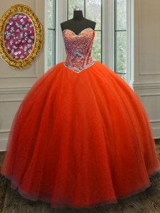 Sophisticated Red Tulle Lace Up Ball Gown Prom Dress Sleeveless Floor Length Beading