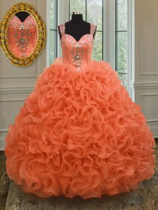 Orange Red Straps Zipper Beading and Ruffles Sweet 16 Quinceanera Dress Sleeveless