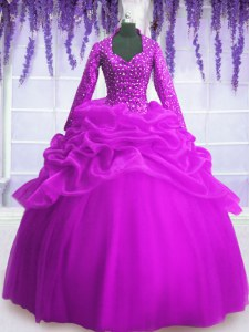 Fuchsia Organza Zipper Quinceanera Gowns Long Sleeves Floor Length Sequins and Pick Ups