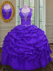 Stylish Straps Eggplant Purple Sleeveless Beading and Pick Ups Floor Length Vestidos de Quinceanera