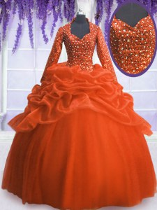 Long Sleeves Zipper Floor Length Sequins and Pick Ups Ball Gown Prom Dress
