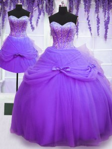Top Selling Three Piece Floor Length Purple 15th Birthday Dress Sweetheart Sleeveless Lace Up