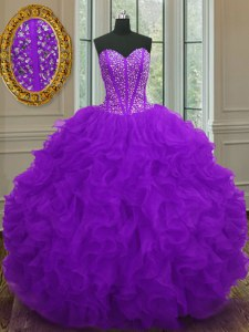 Sweetheart Sleeveless Quinceanera Gown Floor Length Beading and Ruffles Purple Organza