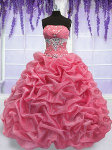 Beading Quinceanera Dress Rose Pink Lace Up Sleeveless Floor Length