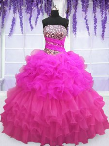 Lovely Organza Strapless Sleeveless Lace Up Beading and Ruffled Layers and Pick Ups Vestidos de Quinceanera in Multi-color