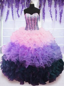 Inexpensive Floor Length Multi-color Sweet 16 Dresses Organza Sleeveless Beading and Ruffles and Ruffled Layers