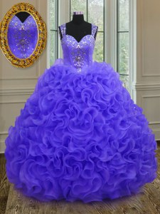 Extravagant Straps Purple Sleeveless Organza Zipper Quinceanera Dress for Military Ball and Sweet 16 and Quinceanera